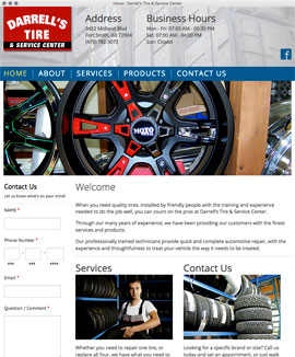Web design web development HTML CSS PHP Javascript Darrell's Tire tires wheels rims flats Fort Smith Arkansas